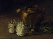 Emil Carlsen : Chrysanthemum and copper pot, ca.1882.