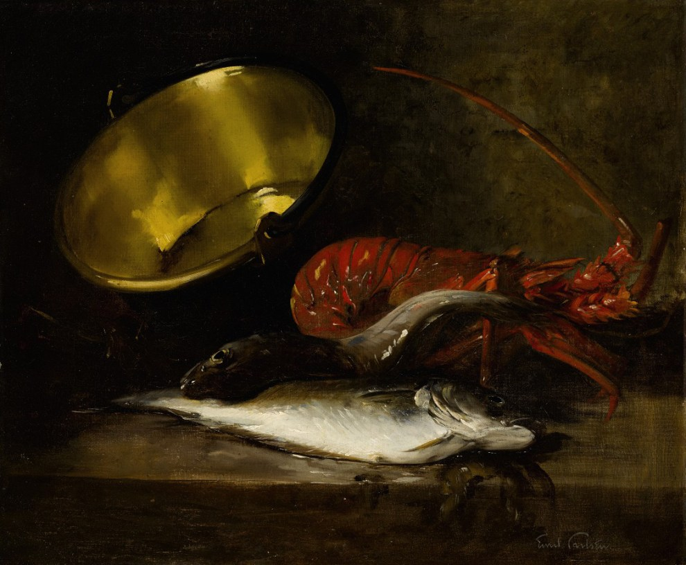 Emil Carlsen : Still life with lobster, pot and fish, ca.1882.