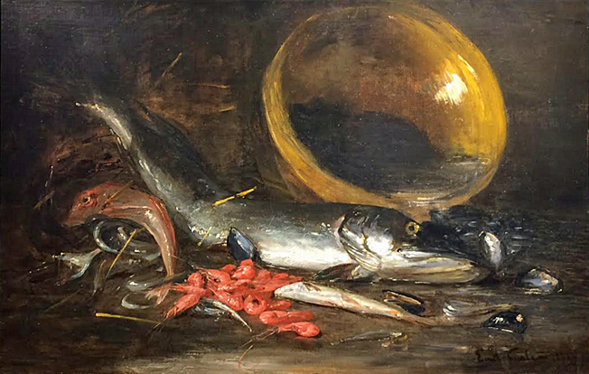 Emil Carlsen : Fish and shrimp still life, 1884.