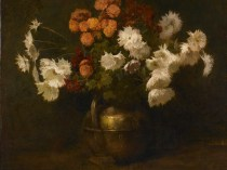 Emil Carlsen Flowers (in Copper Urn) (also known as Asters and Marigolds & Chrysanthemums (in a brass vessel)), c.1885