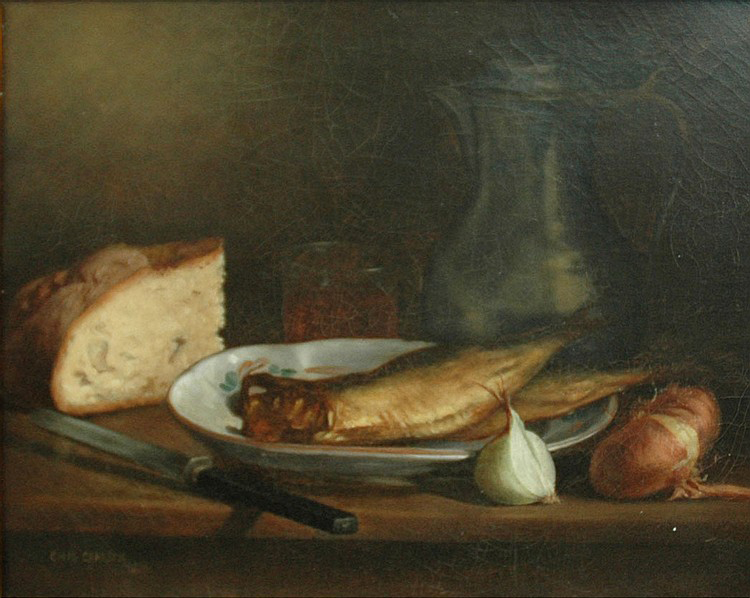 Emil Carlsen Still Life with Fish, Bread and Onions, 1885