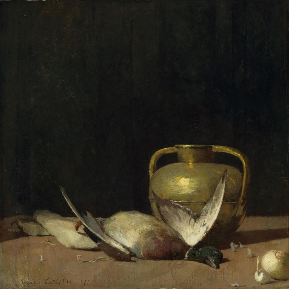 Emil Carlsen Still life [with mallard duck and urn], 1891
