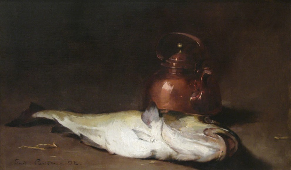 Emil Carlsen : Still life with fish and copper kettle, 1892.