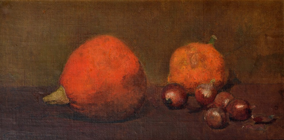 Emil Carlsen : Still life with pumpkin, gourd and onions, ca.1883.