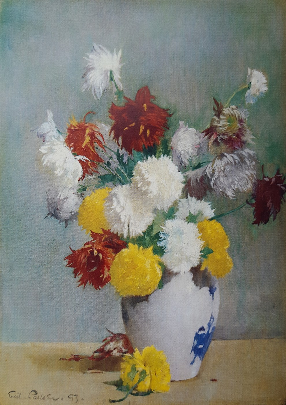 Emil Carlsen : Still life of chrysanthemums in a canton vase, 1893.