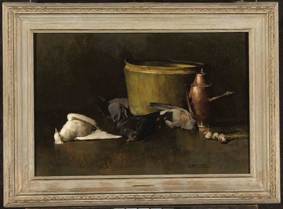 Emil Carlsen : Still life—brass bowl, copper coffee pot and pigeons, ca.1894