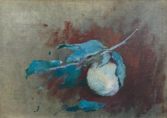 Emil Carlsen : Still life fruit on the bough, ca.1918.