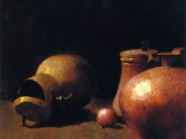 Emil Carlsen Copper Kettles in Reflected Light (also called Pots and Copper & Still Life - Brass and Copper), 1894