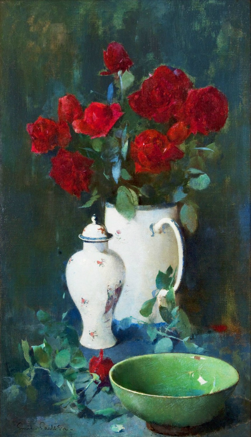 Still Life, Roses and Oriental Vases (also called Roses and Oriental Porcelain), c.1895