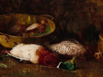 Emil Carlsen : Still life [mallard, grouse, small game birds and copper pots], ca.1897.