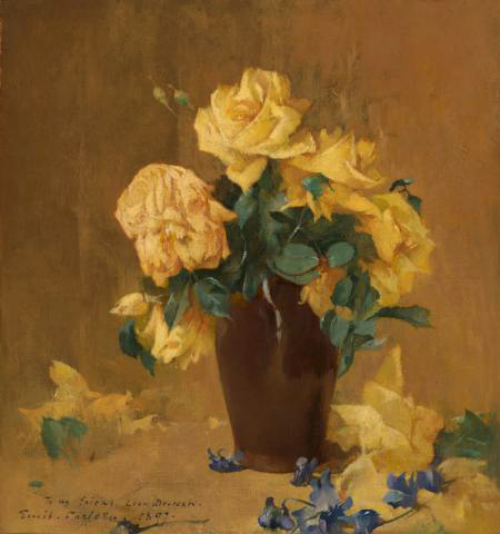 Emil Carlsen Yellow Roses and Violets, 1897