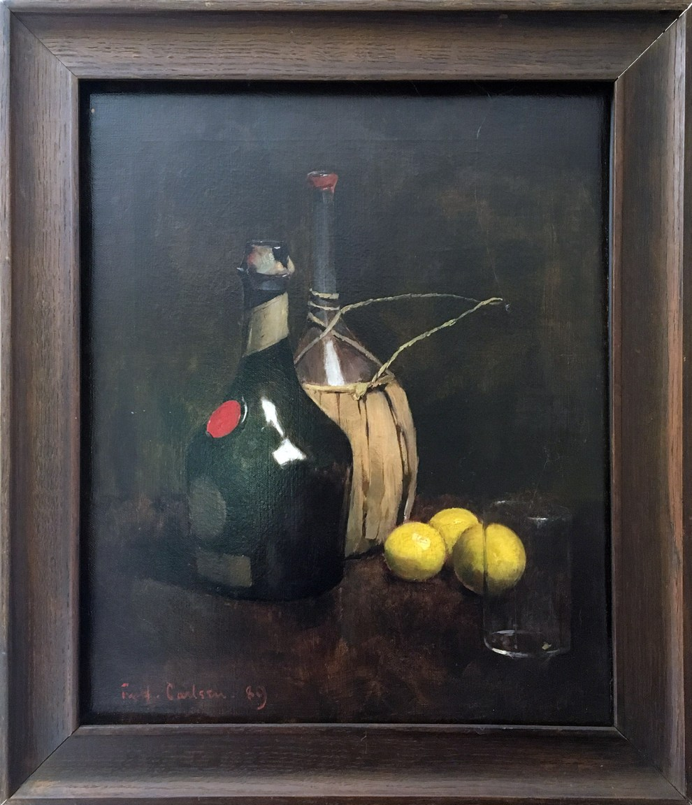 Emil Carlsen : Sangria punch—still-life with cognac, wine bottle, glass and lemons, 1898.
