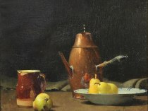 Emil Carlsen : Still life with pot, pitcher and pears, 1903.