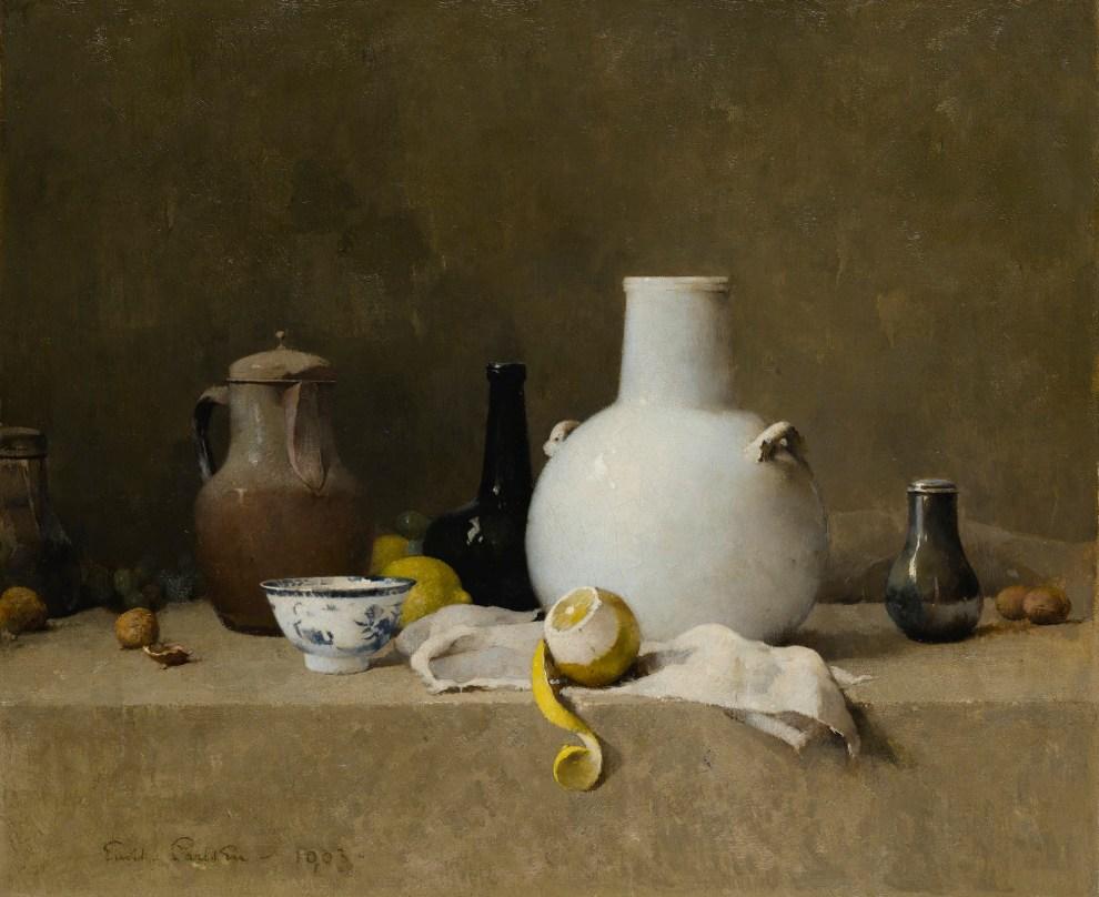 Emil Carlsen : Still life with pottery jars, 1903.