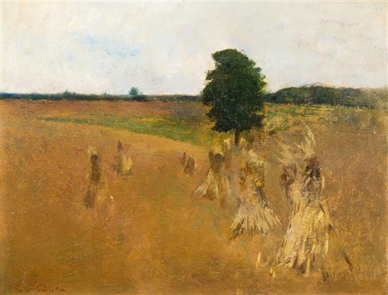 Emil Carlsen : Landscape [haystack harvest], ca.1905.