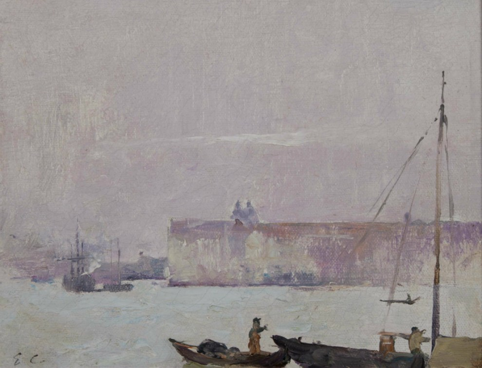 Emil Carlsen On the Lagoon, Venice (also called Venice Harbor Scene with Sailboat), 1909