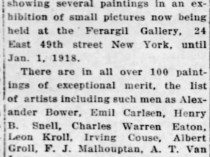"The Courier News, Bridgewater, NJ, ""Local artist exhibits in Fuaril gallery"", December 24, 1917, not illustrated."