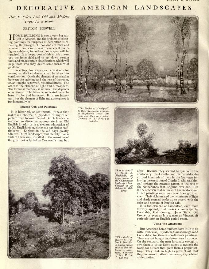 "House and Garden, New York, NY, ""Decorative American Landscapes"", Volume 36, Conde Nast Publications, December, 1919, page 32-33 and 74-75, not illustrated"