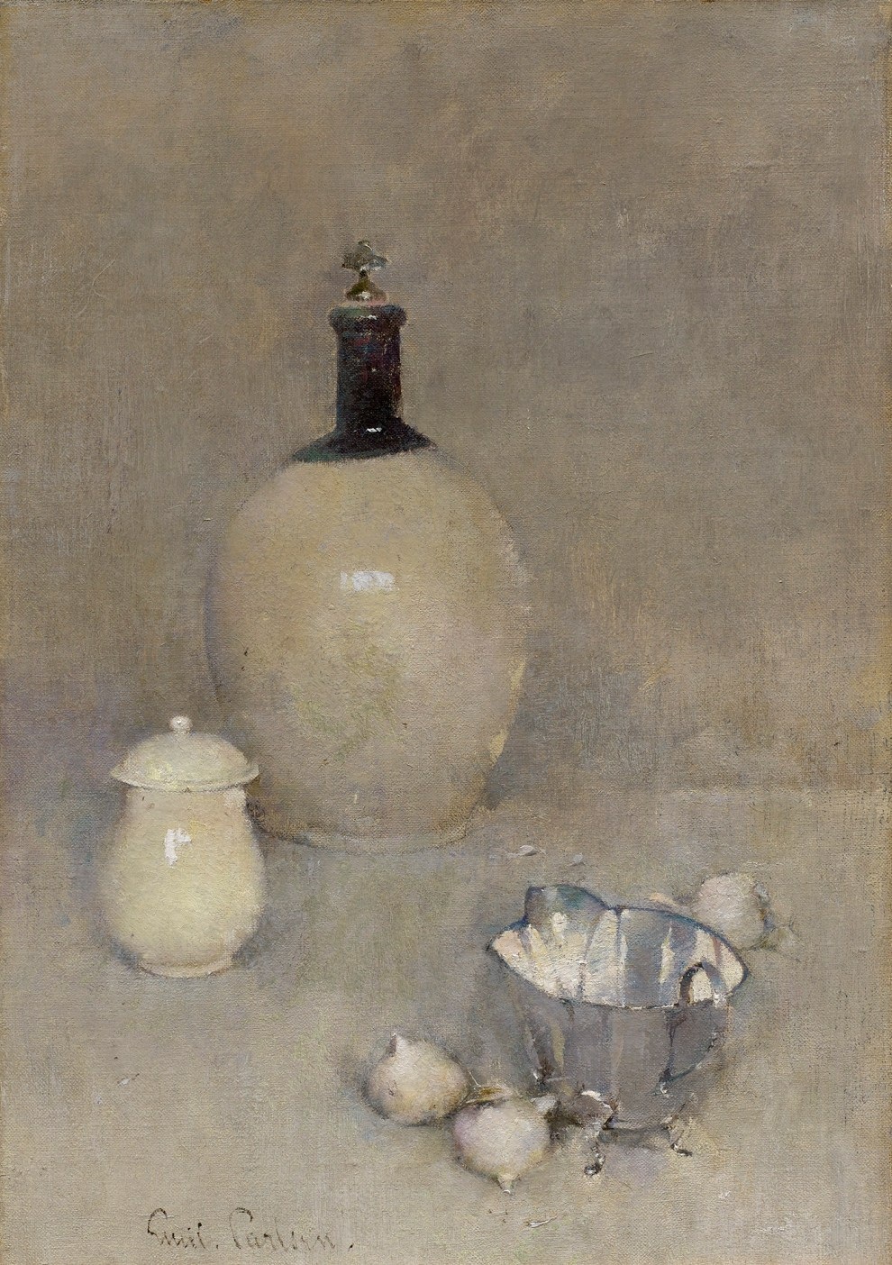 Emil Carlsen : Still life [jug, pot, bottom of kettle], 1920.