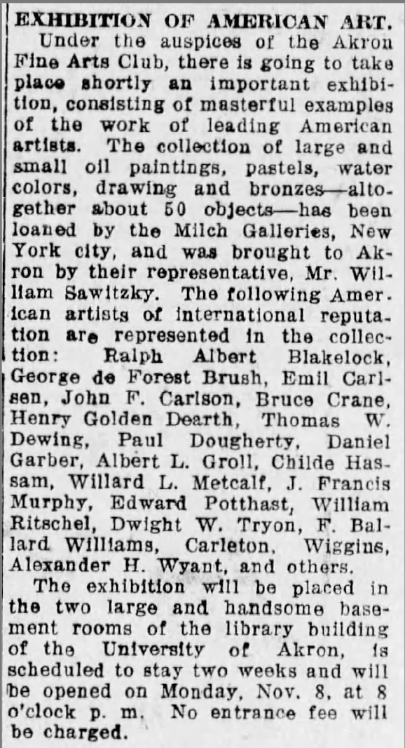 "The Akron Beacon Journal. Akron, OH, ""Exhibition of American Art"", Friday, November 5, 1920, Main Edition, page 6, not illustrated."