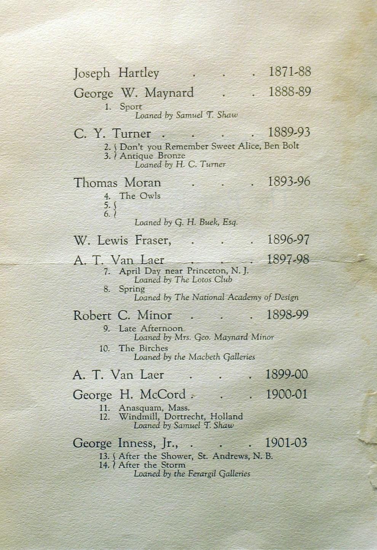 "1921 Salmagundi Club, New York, NY, ""The past presidents of the Salmagundi Club"", January 8-28."