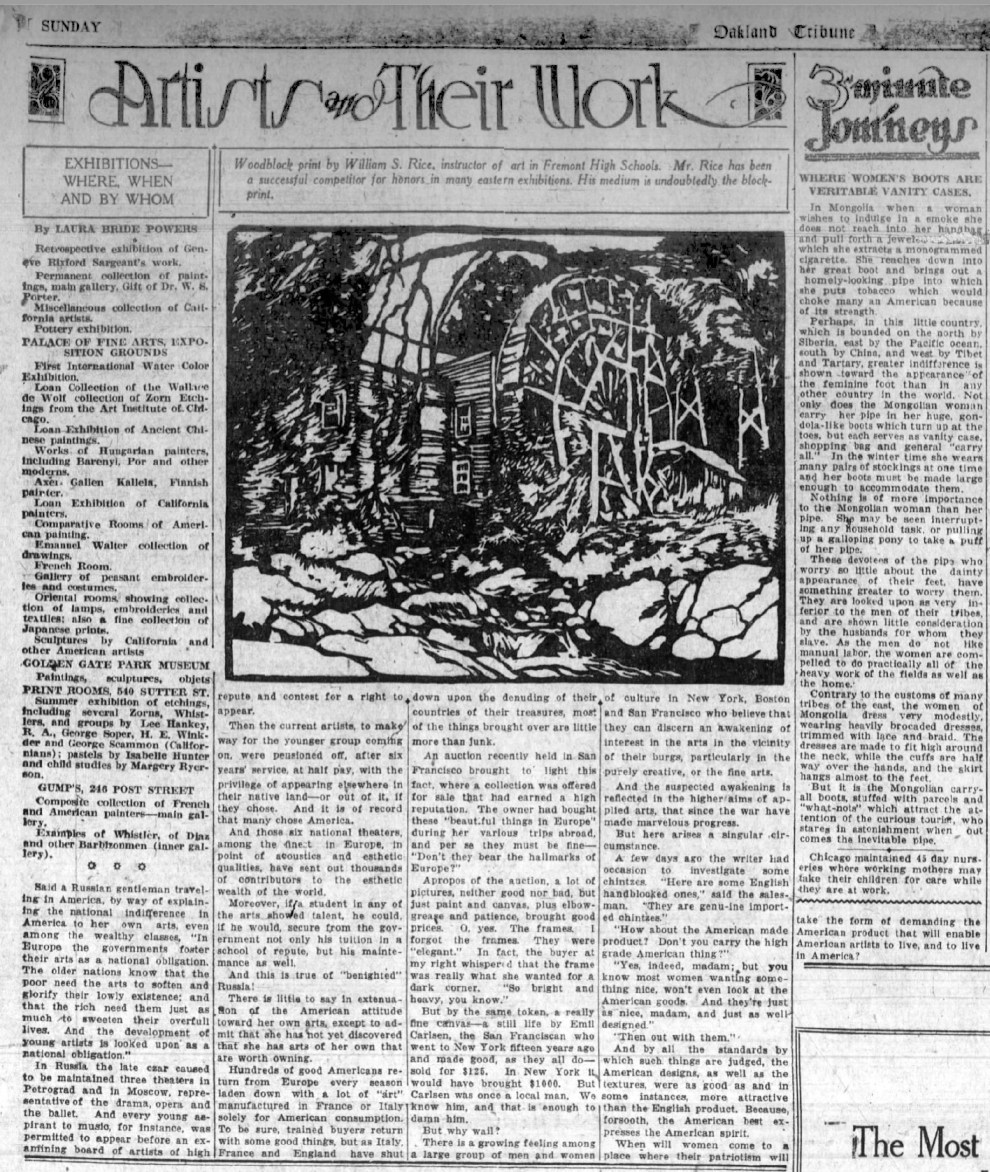 """Oakland Tribune, Oakland, CA, """"Artists and their work : Exhibitions—where, when and by whom"""" by Laura Bride Powers, Sunday, August 13, 1922, page 47, not illustrated."""