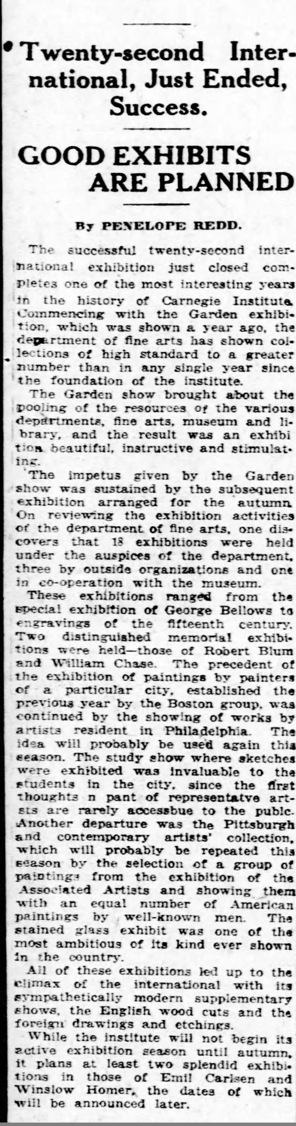 "Pittsburgh Daily Post, Pittsburgh, PA, ""Twenty-second international, just ended, success : Good exhibits are planned"", Sunday, June 24, 1923, page 59, not illustrated"
