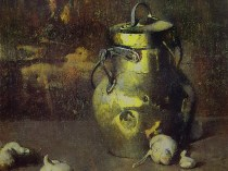 Emil Carlsen : Brass jar with garlic, 1927.