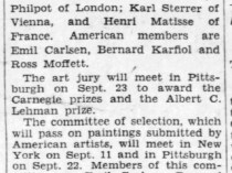 "Pittsburgh Press, Pittsburgh, PA, ""Name art jury for show here : St. Gaudens announces six judges for exhibition opening Oct. 16"", Friday, September 5, 1930, main edition, page 10, not illustrated."