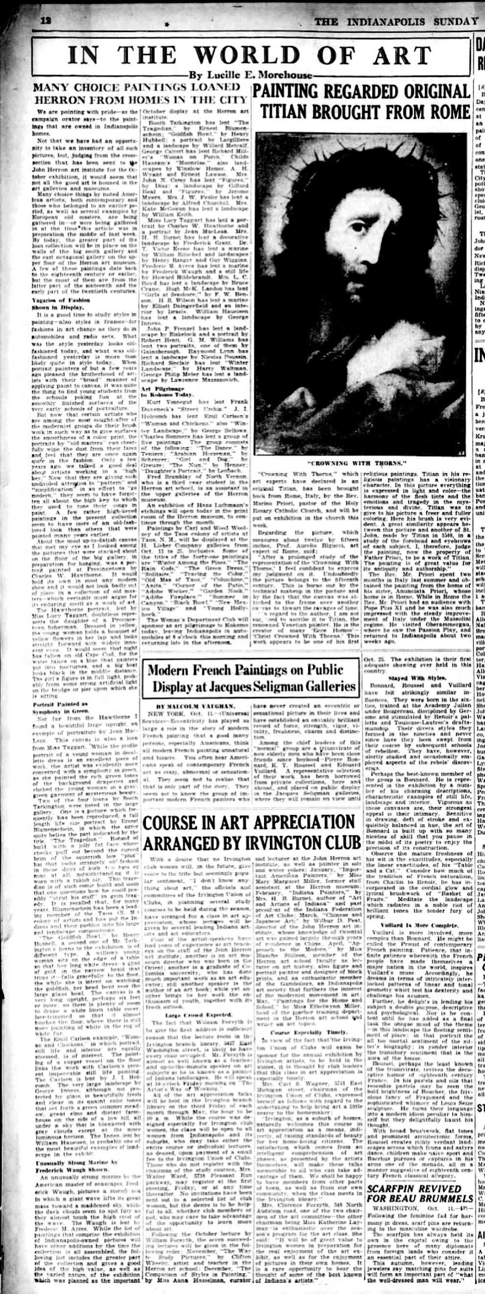 """The Indianapolis Star, Indianapolis, IN, """"In the world of art"""" by Lucille E Morehouse, Sunday, October 12, 1930, page 56, not illustrated."""