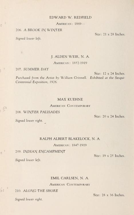 "1932 Samuel T. Freeman & Co, Philadelphia, PA, ""Notable paintings of artistic distinction"", January 25-26."