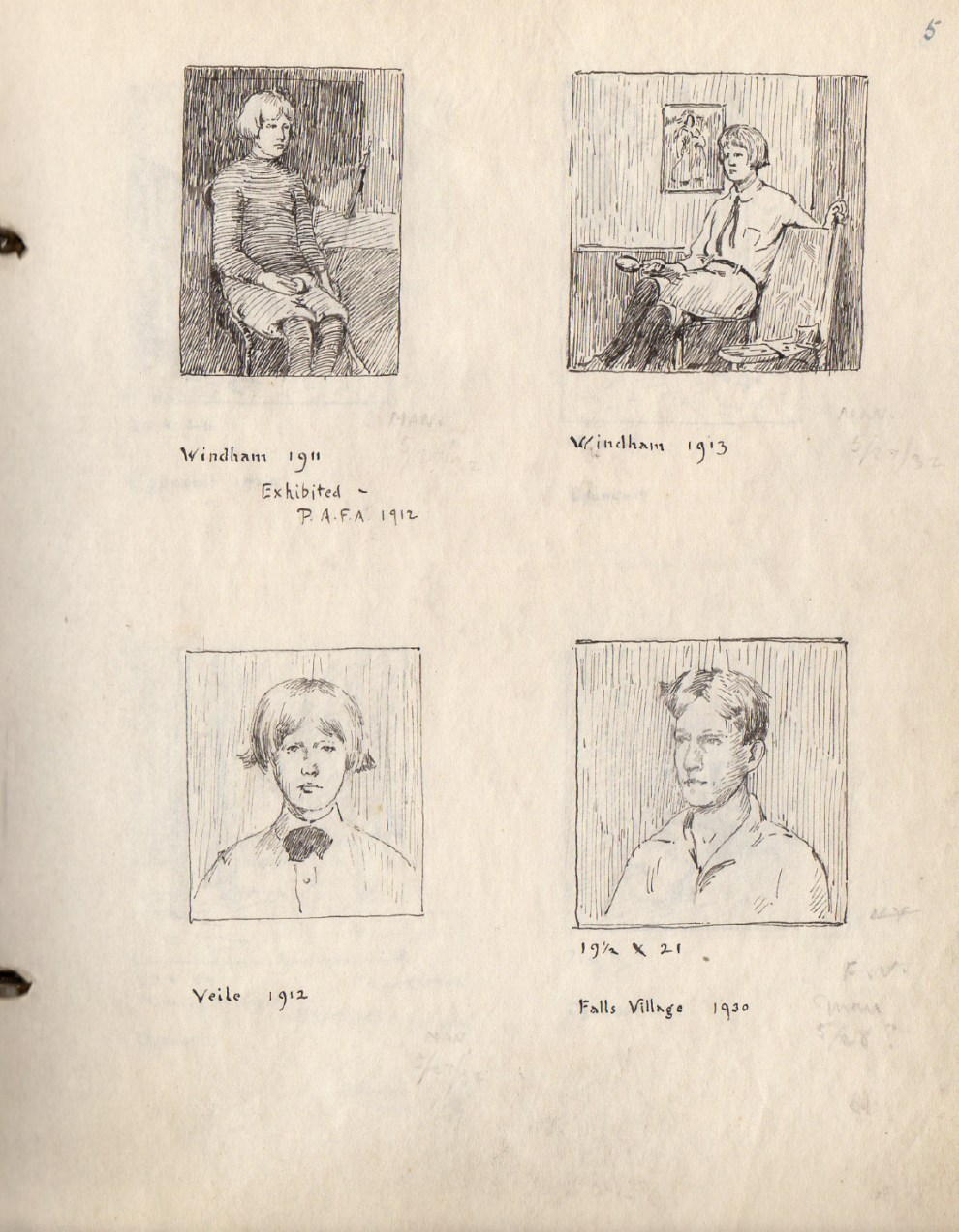 """Archive of Works by Emil Carlsen Compiled by Dines Carlsen"", 24 pages, hand-drawn sketches and notes probably by Dines, provided by Linda Hay, c1960"