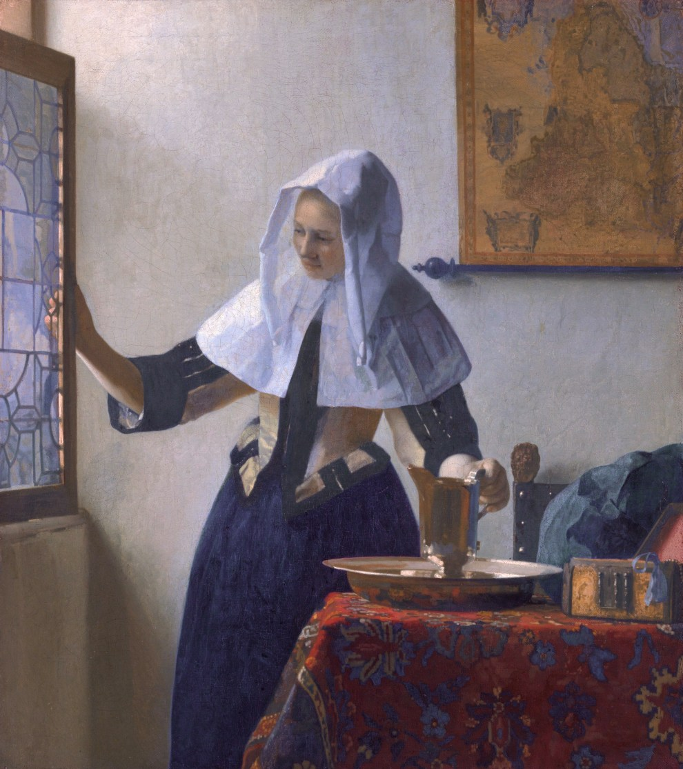 Fig. 4. Johannes Vermeer, Young Woman with a Water Jug, c.1664-65, oil on canvas, 18 x 16 in. (45.7 x 40.6 cm), The Metropolitan Museum of Art, New York, Marquand Collection, Gift of Henry G. Marquand, 1889 (89.15.2)