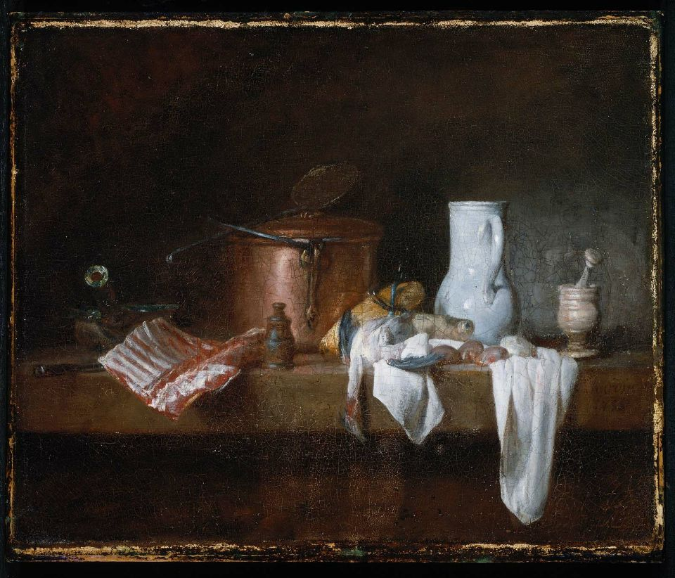 Fig. 3. Jean Baptiste Simeon Chardin, Kitchen Table, 1755, oil on canvas, 15 5/8 x 18 3/4 in. (39.8 x 47.5 cm), Museum of Fine Arts, Boston, Gift of Mrs. Peter Chardon Brooks