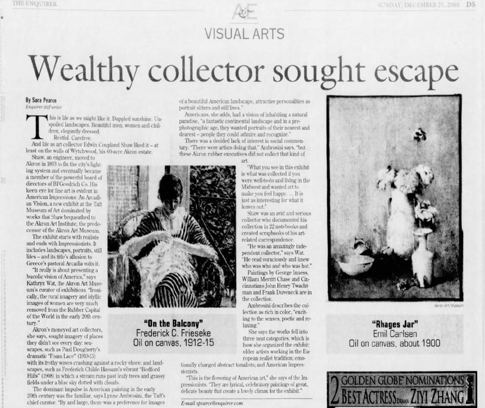"The Cincinnati Enquirer, Cincinnati, OH, ""Wealthy collector sough escape"", December 25, 2005, page D5, illustrated: B&W"