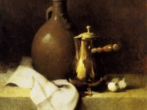 Emil Carlsen Still Life with Garlic (coffee pot and earthen jug) 1905