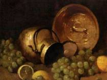 Emil Carlsen : Still life with copper pots, lemons and grapes, ca.1897.