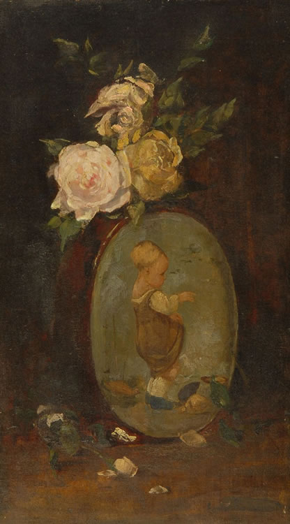 Emil Carlsen : Floral still life with roses and a portrait vase, 1870.