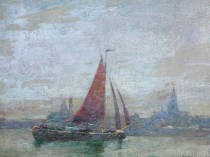 Emil Carlsen Sailboat on the Sea, 1915