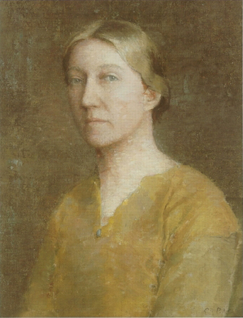 Emil Carlsen Portrait of the Artist's Wife (also called American Gothic), c.1912
