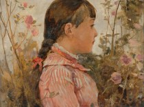 Emil Carlsen : Side profile of a young girl amongst flowers, ca.1877.