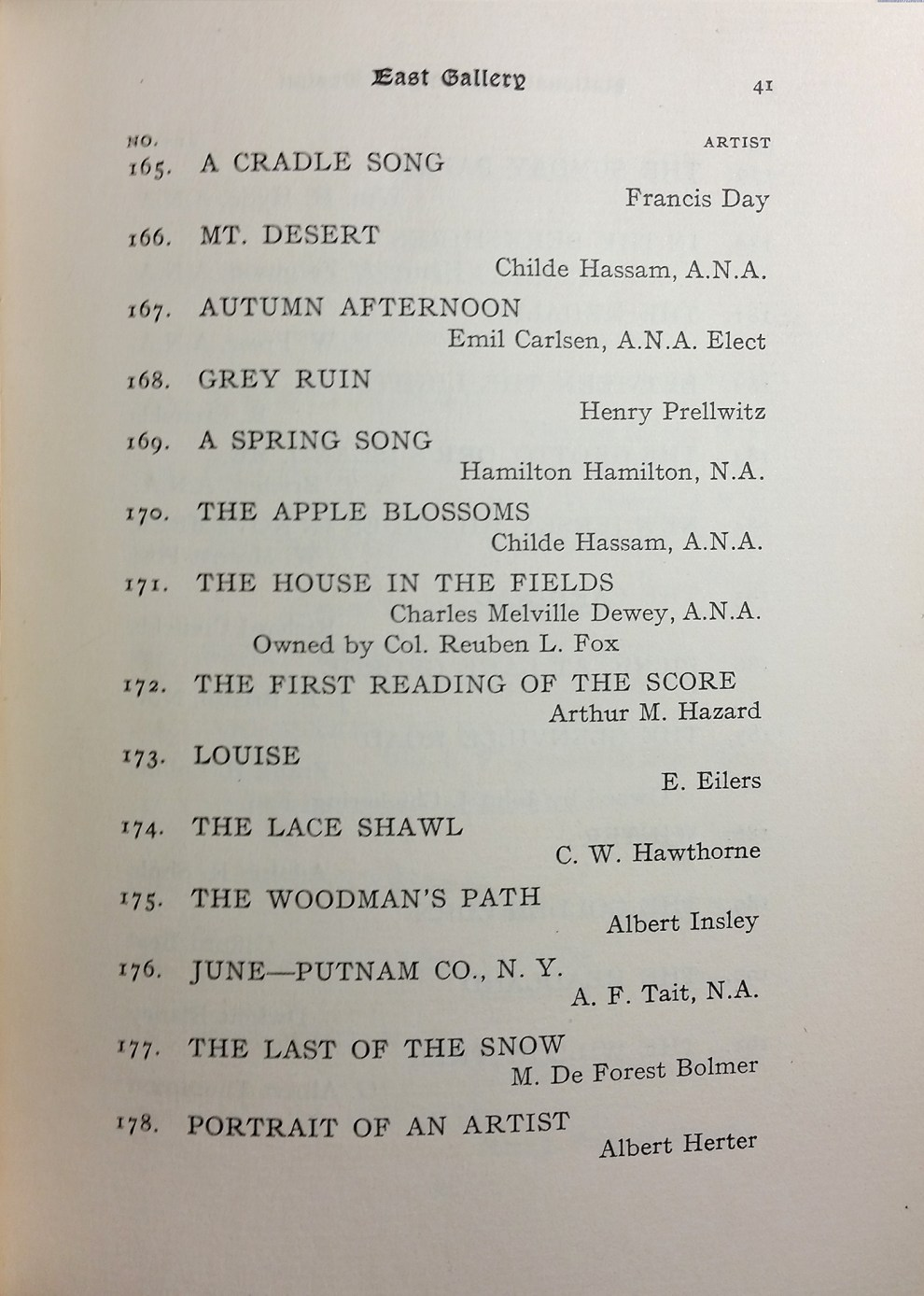 "1904 National Academy of Design, New York, NY, ""Seventy-Ninth Annual Exhibition"", January 2-30"