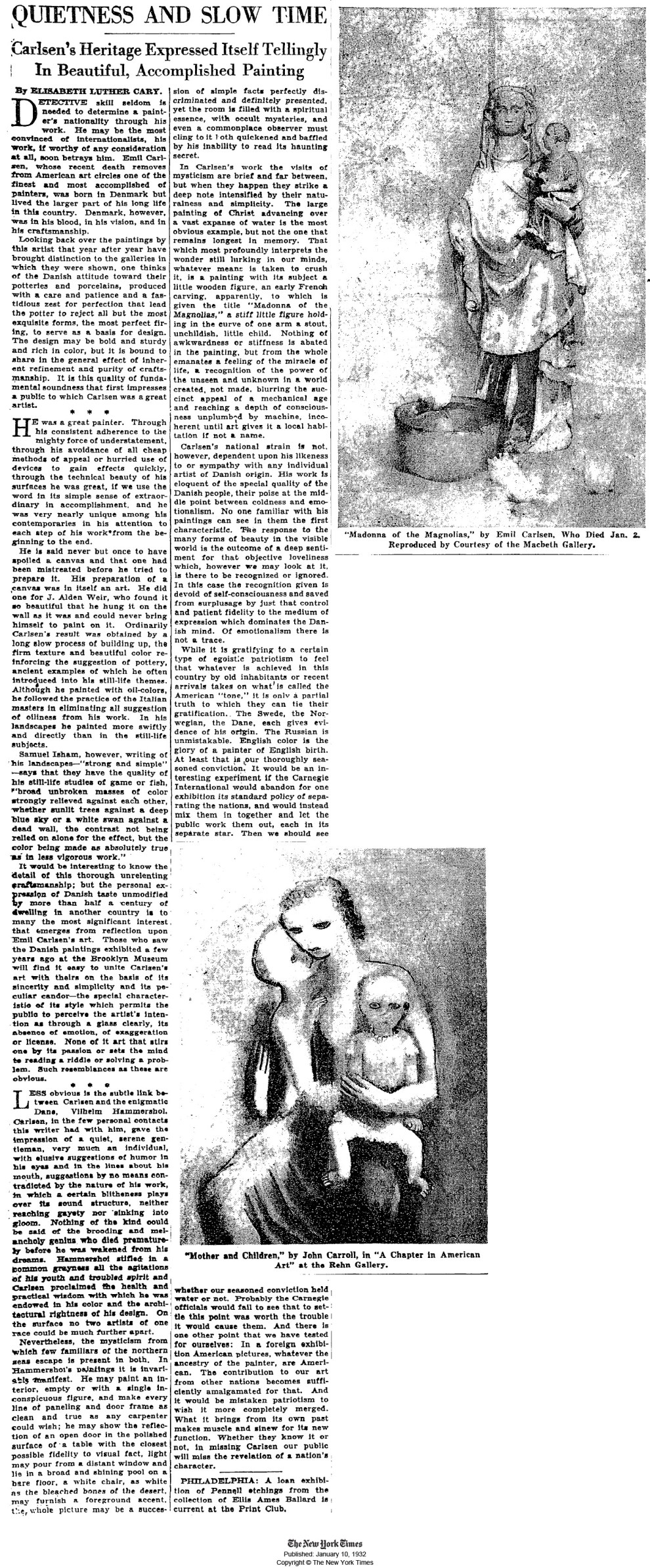 "1932 The New York Times, New York, NY, ""Quietness and Slow Time: Carlsen's Heritage Expressed Itself Tellingly In Beautiful, Accomplished Painting"" by Elisabeth Luther Cary, January 10, 1932, illustrated: B&W"
