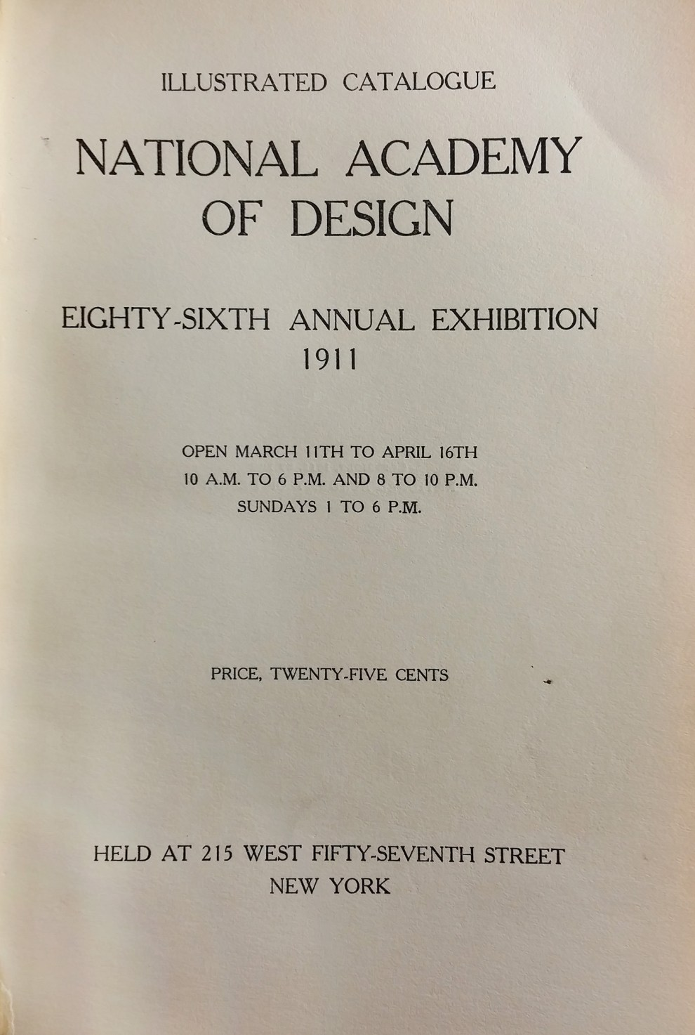 "1911 National Academy of Design, New York, NY, ""Eighty-Sixth Annual Exhibition"", March 11 - April 16"