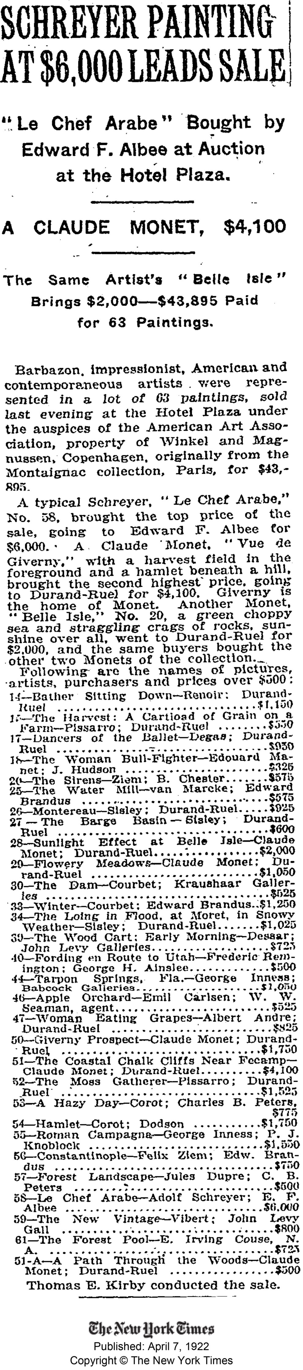 """1922 New York Times, New York, NY, """"Schreyer Painting At $6,000 Leads Sale"""", April 7"""