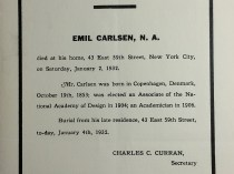 """National Academy of Design Death Notice of Emil Carlsen to Their Members"" provided by National Academy of Design, Clipping File, January 4, 1932"