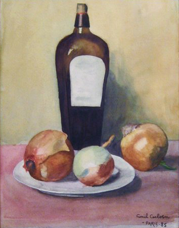 Emil Carlsen : Still-life with bottle and onions, 1885.