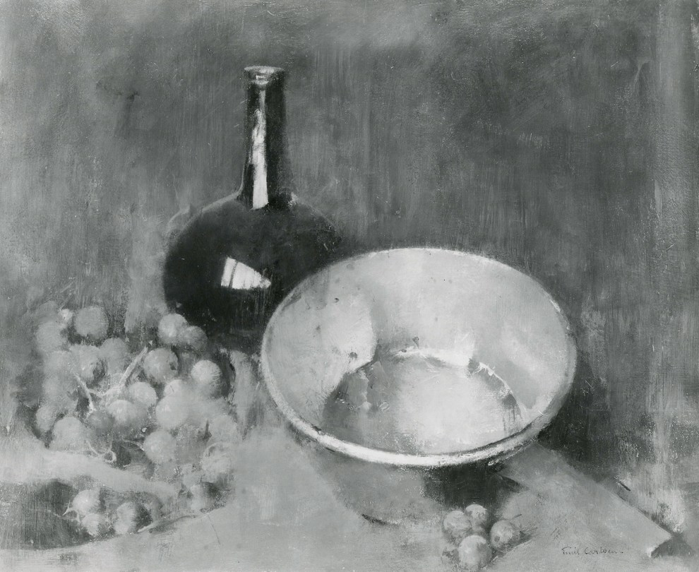 Emil Carlsen : Still life [copper, flask and grapes], ca.1931.