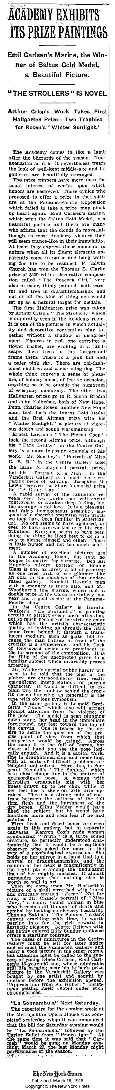 """New York Times, New York, NY, """"Academy Exhibits Its Prize Paintings: Emil Carlsen's Marine, the Winner of Saltus Gold Medal"""", March 18, 1916."""