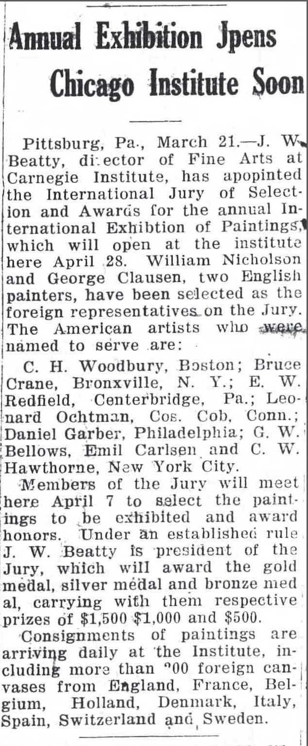 """Fayetteville Observer, Fayetteville, NC, """"Annual Exhibition Opens Chicago Institute Soon"""", March 21, 1921, Page 7"""